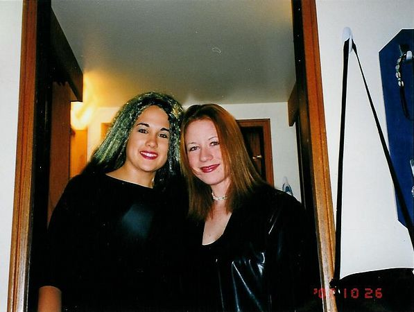 Kristen and Patty getting ready for a party