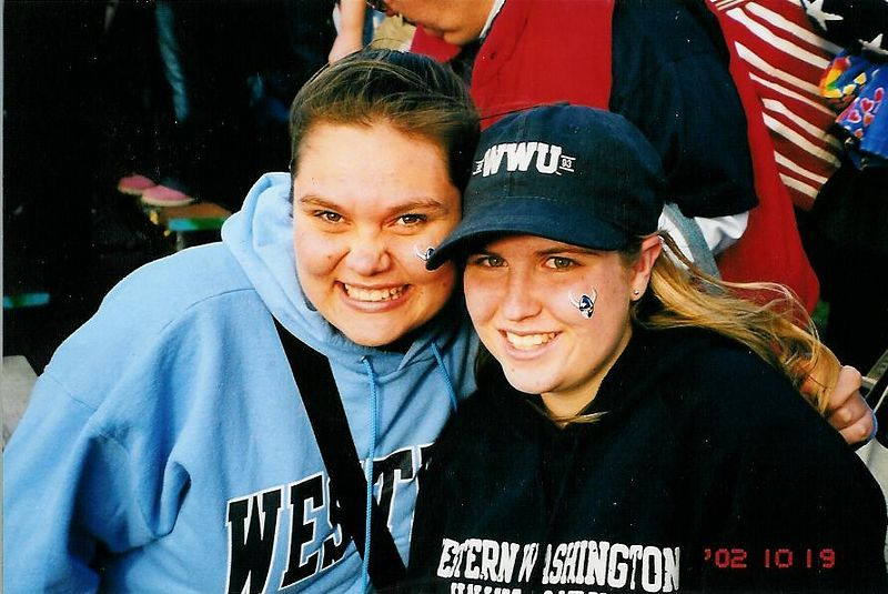 Carly and Becky at the WWW/ Central Football game.  (they are our rivals)