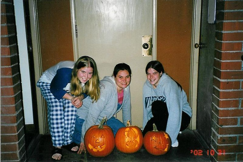 OUr pumpkins were an adventure: fisrt, we got in trouble for burning candles.  Then they were smashed before we even woke up the next morning.