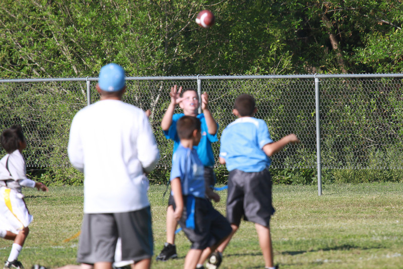 Nathan out for a pass in the endzone.  Fortunately he was more in focus than the camera.  He caught it.
