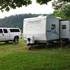 Larry's truck, Trailer, and my Harley rental on his Wilkes County mountain land June 2014.