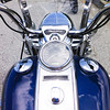 Driver's eye view of Harley Davidson Road King, June 2014.