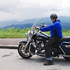 Vance at Blue Ridge Parkway overlook on 1690 cc Harley Davidson Road King, June, 2014.