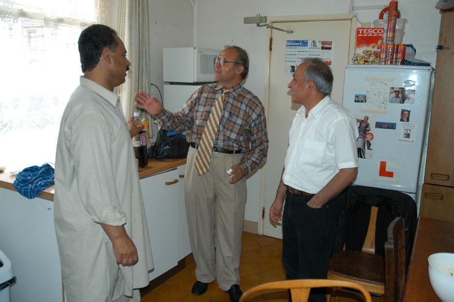 2005. Kitchen politics! With Dr. Tawab, Dr. Mehrab and Toryalai in Bristol, UK.