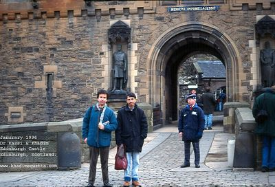With Dr Kassi at the entrance of Edinburgh Castle, Edinburgh, Scotland (UK). January 1996.