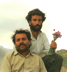Din Mohammed Kakar (front) and I (Khadim) in March/April1990 while on a geological excursion to the northern edges of the Zarghoon Ghar (mountains) to the east of Quetta. The wild flowers I was holding in my hand were wildly beautiful and the whole area (northern edge) was covered with them.