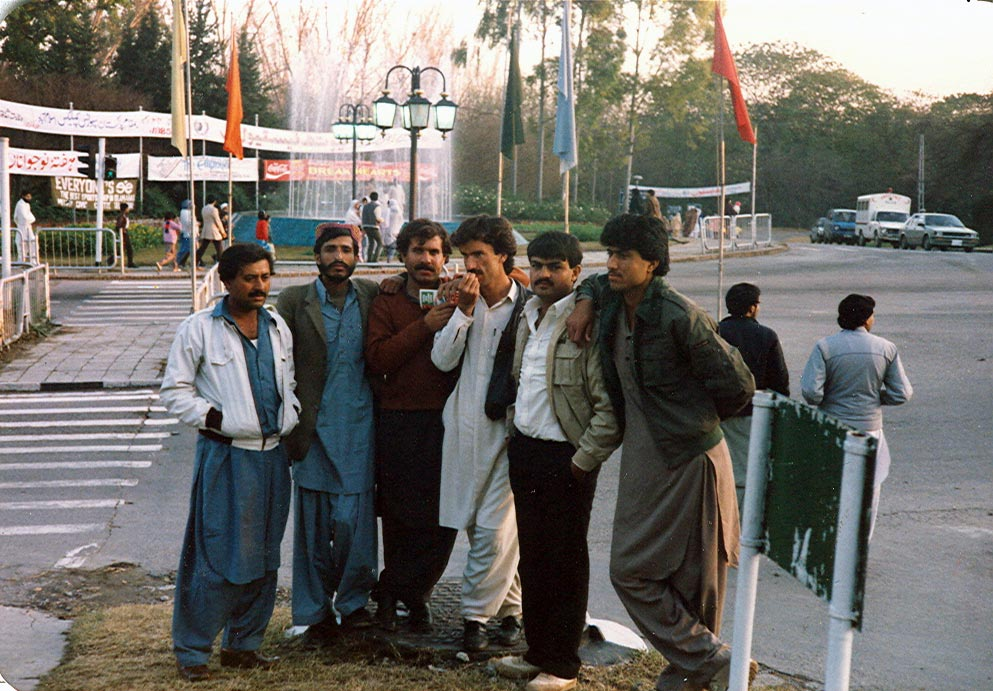 This is a very memorable but one of the last photos of our university student life. Here we are at the Zero point in Islamabad - the show piece capital of Pakistan. It was in December-January 1986 and we, as part of our study tour, were exploring the geology of Nammal and Khewra gorges as well as the cultural richnes and historical heritage of the NWFP and that of part of the Punjab province.<br /> <br /> Though the memories are fading away now but we really had a wonderful time out there with our class mates and with our Prof. (late) Dr Abdul Haq, who, unfortunately passed away at a very young age in 1996 (he is not in the picture). Picture description: from left to right:<br /> <br /> Gul Jaan, Akbar Jaan, Din Mohammed Jaan, Khadim Jaan, Saeed Jaan and our Mohammed Jaan!