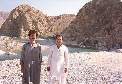 With Ayub, one of our good friends, in the Bibi Naani Ziarat area. Southern Balochistan. 1989.
