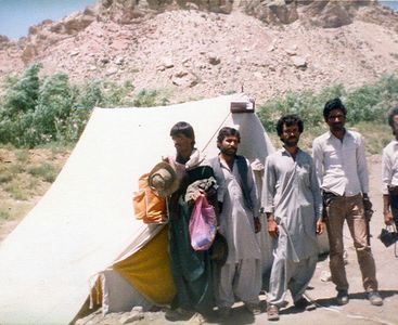 The exhausted geologists. The day when we packed up our tent for Quetta. We had spent three weeks in the mountains (wilds) doing camping...was our first ever major geological field trip. Luckily we had two villages of Ahmadun and Gogai nearby! Full of thrill and good memories. This is the region which has been greatly devastated by the October 29 Ziarat earthquake!