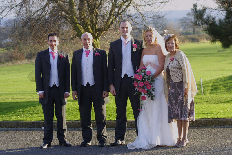 Emma & Matts Weding in UK December 28th 2008.<br /> Originally arranged for July but put off so brother Adam could be home from the military to attend.<br /> Left to right. Adam, Roy (Dad) Matt, Emma, Liz (Mom).