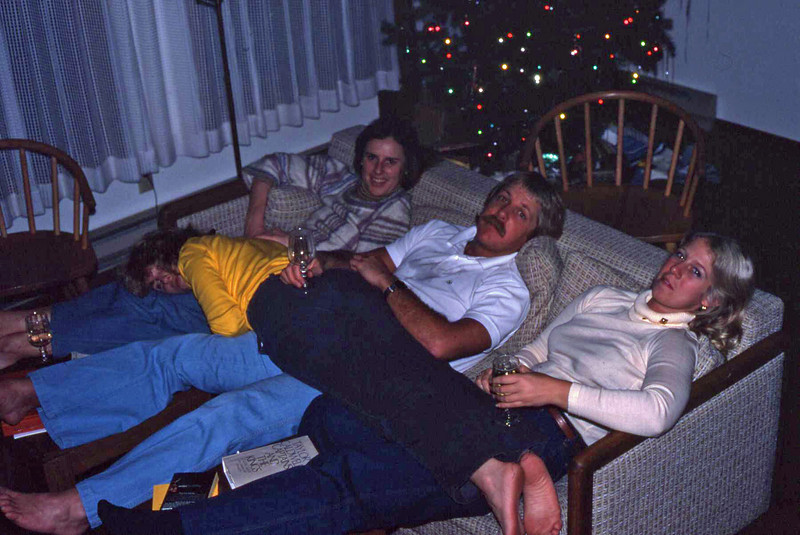 Marilyn relaxing on Ann, Bruce and Barb