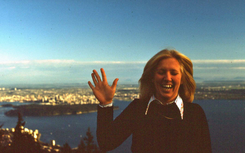 Marilyn at lookout on way to Cypress Mountain, West Van