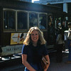 Marilyn in front of cable car in San Francisco