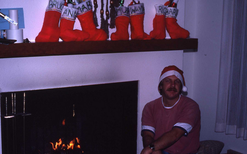 Our resident elf, Bruce, with everyone's stockings