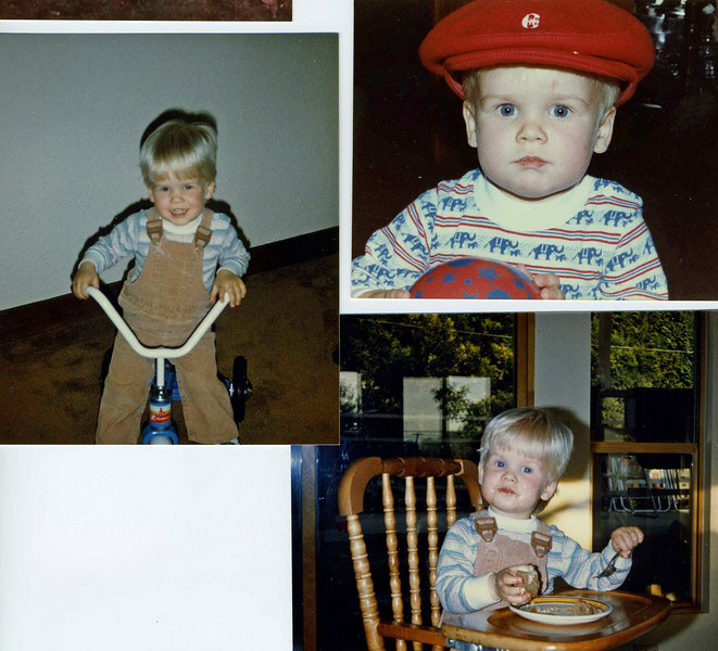 Andrew and his first tricycle; with his cool Roots hat and in his high-chair in the sunroom on East 44th