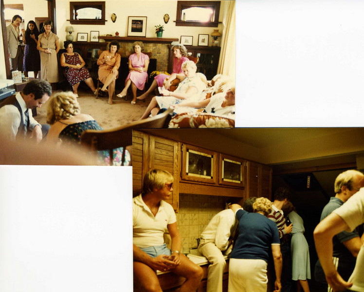 1st: Larry Doerksen, Susan McPhail, Pat Fedrigo, Angie Bell, Anne Hasselman (Marilyn's Mom), Mary Smith, Eileen Mercer (Wayne's Mom) and Wayne & Marilyn opening presents; 2nd: Bruce on counter and other friends and family in kitchen on East 44th in Vancouver.