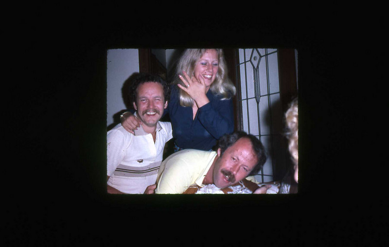 Wayne, Barb Beech and Rick Smith in a sober ?? moment on East 44th.