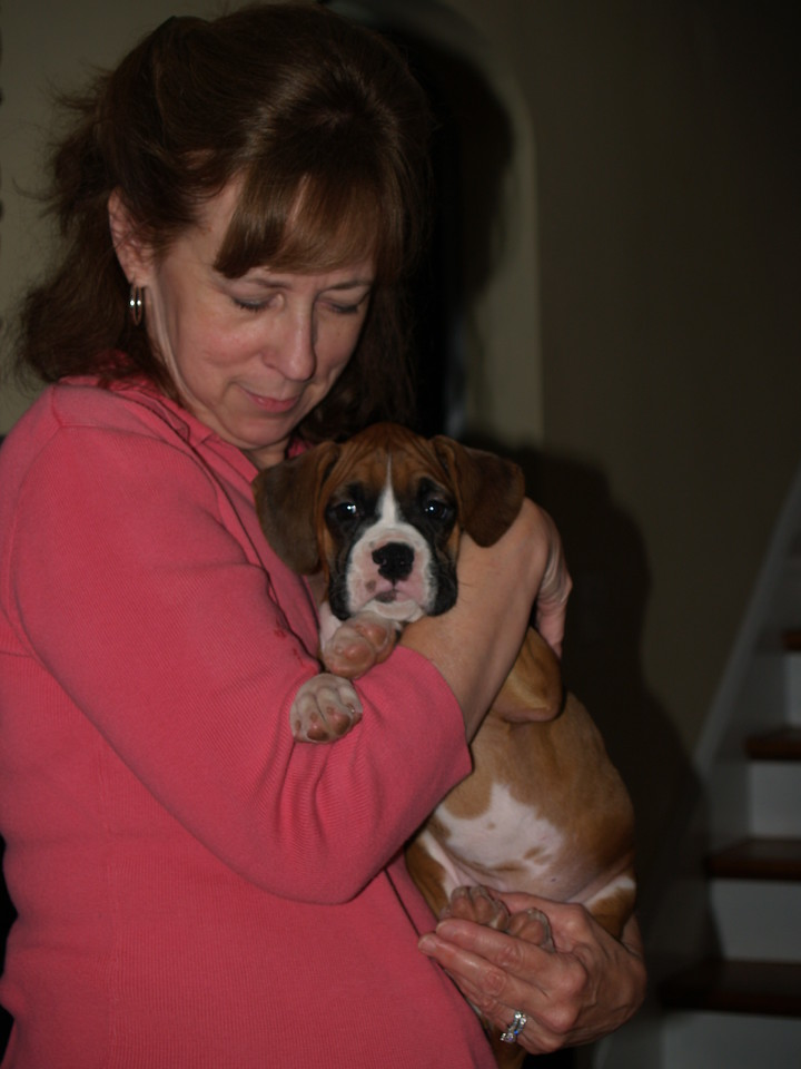 Denise Williams, our kids' piano teacher, with new boxer puppy