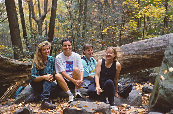 Me, Mary Lou Hartzler, Becky Felton, Mary Lou Cummings on a hike at Glen Onoko Falls, Jim Thorpe (back in the 90s)