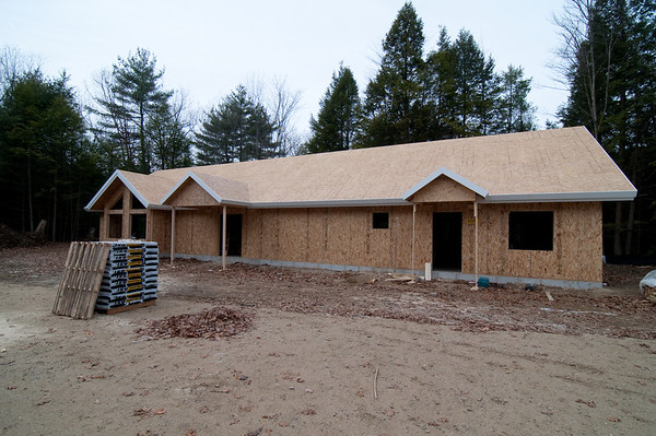 Porches framed and trimmed, too
