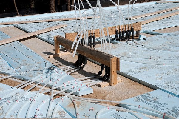 """Nearly 3000 lineal feet of 5/8"""" tubing, in 9 loops from the mechanical room."""