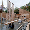 The framing crew works on the interior bearing walls (looking west toward the worship room).