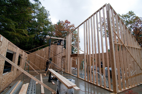 The framing crew works on the interior bearing walls (looking east).