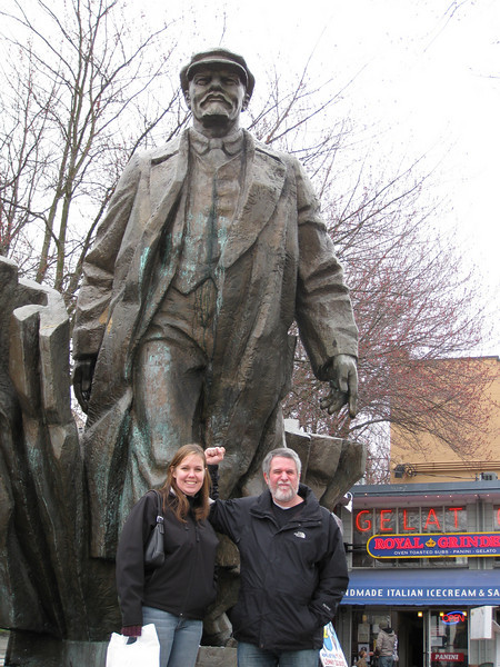 Karen & Bob in Fremont with Lenin.