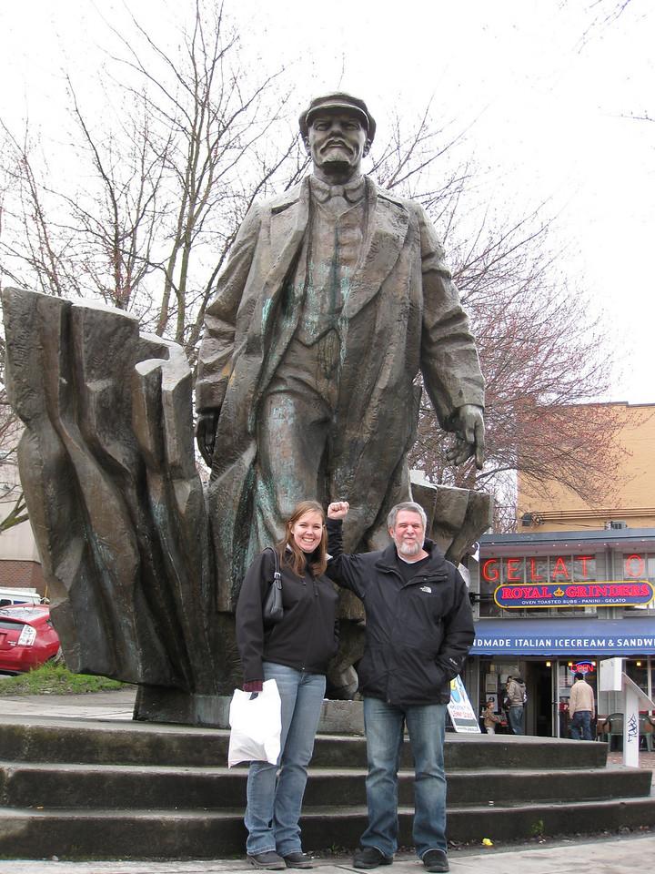 Karen & Bob in Fremont with Lenin.