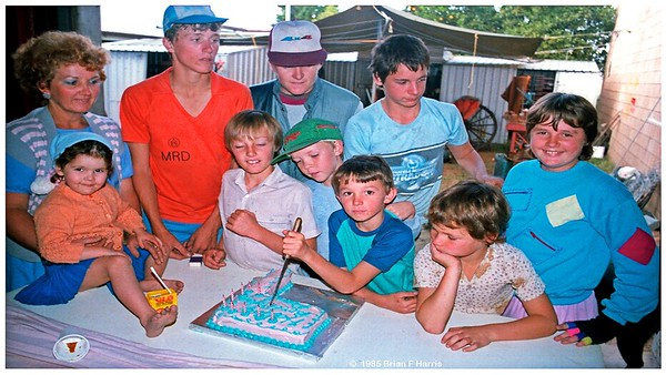 Happy birthday Paul in 1985. New shed in Church Lane.