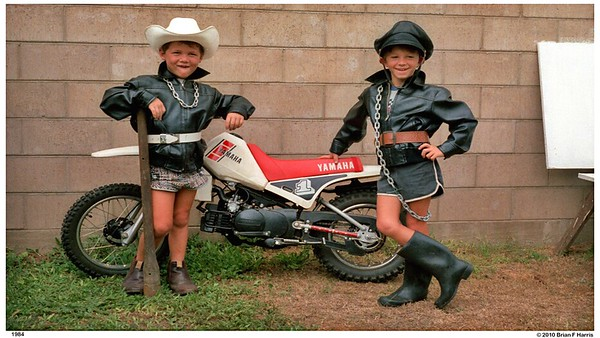 Paul Busst & Paul Harris in our Church Lane yard with the Yamaha Pee Wee 80 won in dog food comp. Promotion.