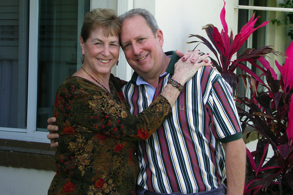 Julie and David at their West Palm Beach home. Julie is the daughter of Perry Belle, recently deceased, who was my mother's best friend for over 40 years.