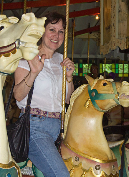 Allyn, a very upbeat friend with whom I've done a number of art treks - NYC, Providence. This is Allyn on the carousel in Pawtucket, RI