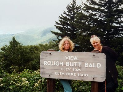Tracy and Ilana in western North Carolina in the late 1990s. And yes, the name of the mountain is quite amusing!