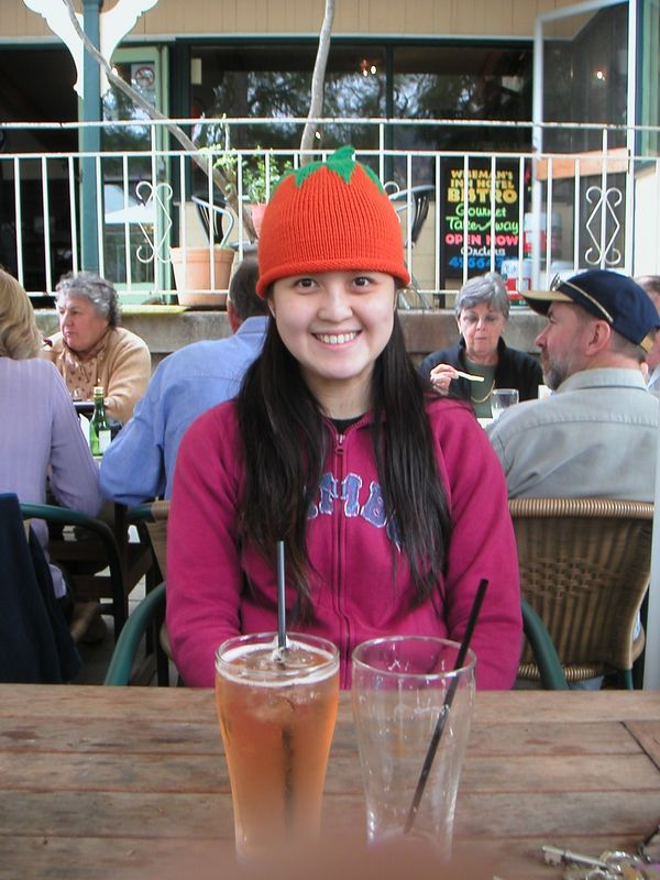 Carrot Top Phoebe at Wisemans Ferry with Vicky's drink