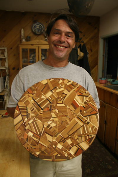 Steve Lipoma and his Del Mar Fair entry, woodworking. 2007
