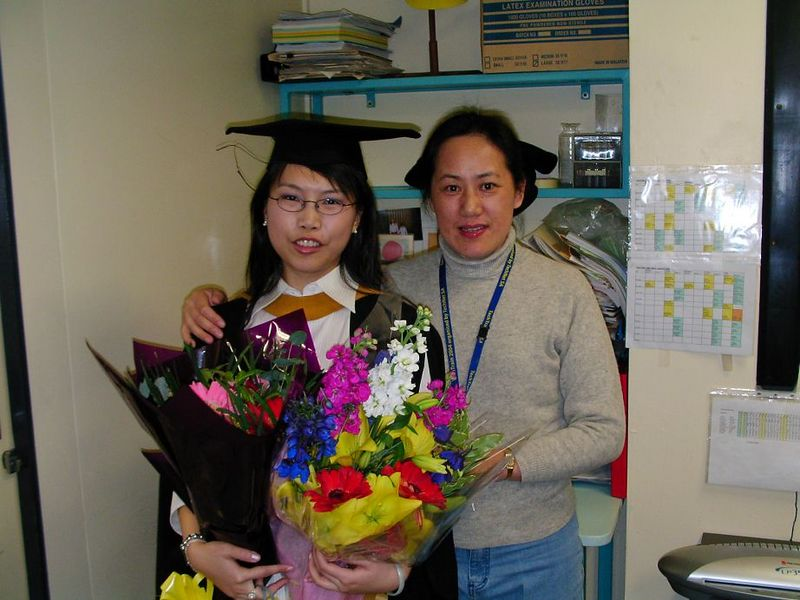 Vicky and Li , Vicky's graduation day