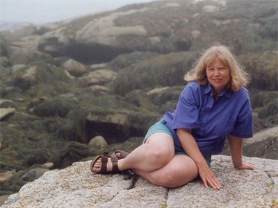 Beverly during a hiking trip in Maine. Beverly and I met at a shamanic workshop in the late 1980s.