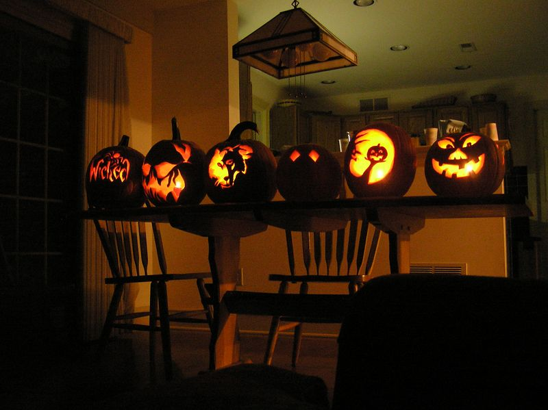 All of the pumpkins.  Made by (from L to R):<br /> Mandie, Eric, Christa/Cal, Kaitl, Erin, Sach