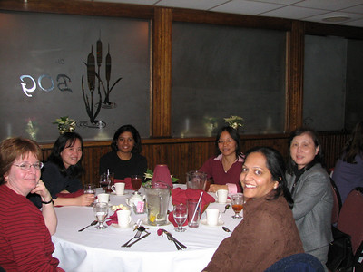 Kathi Mozolic, Nina Lin, Linda Cai, Miaw Shieh, and Radhika Dukkapati having a good ol time at the party.