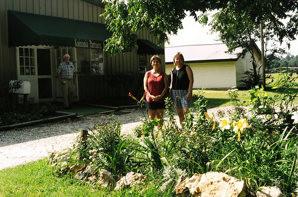 Destination!  Becky & Mary Lou in front of Koinonia Farms Main Building