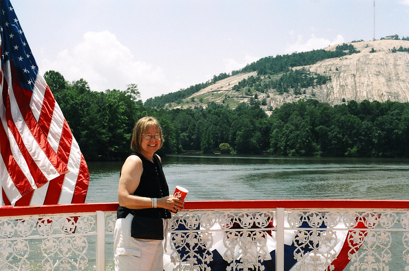 On Scarlett O'Hara Riverboat--  Stone Mountain beyond