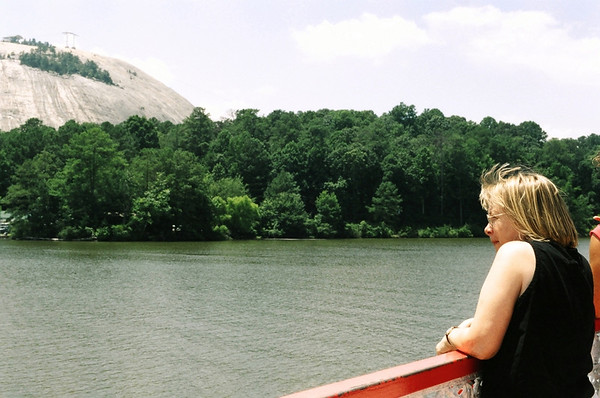 On board Riverboat, looking at Stone Mountain