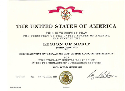 Gerhard Klann Legion of Merit Award