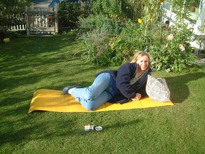 Birgit takes a rest in Bernd and Johanna's garden
