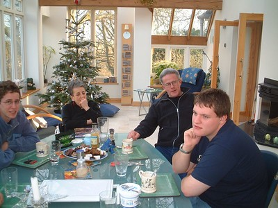 The Wright family, Martin, Fanny and Mick with Edward on New Years Day, 2004