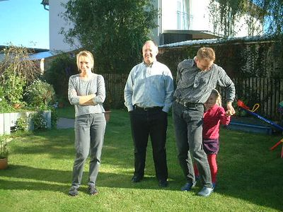 Johanna, Mark, Bernd and Lena in their garden