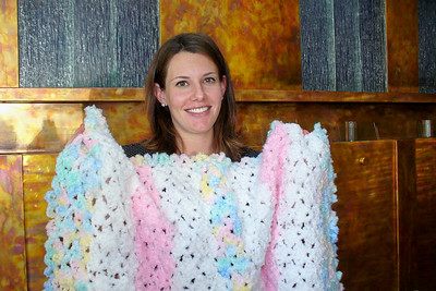 Gina with the blankwet I crocheted