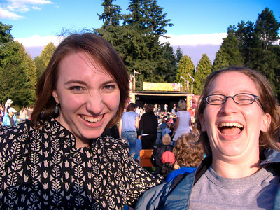 Kari and Sophia (who is still ridiculously stoked) with Great Big Sea