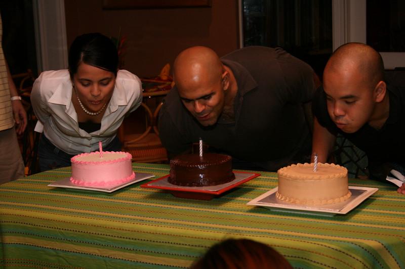 Leleng, Kumar and Bogart blow candles